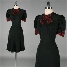 Vintage 1940s Dress  Black Rayon  Red by millstreetvintage on Etsy, $165.00