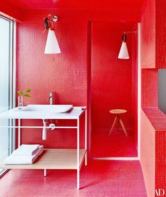 Red bathroom.