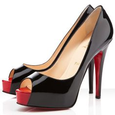 Louboutin Hyper Prive 120mm Lackleder Pumps Schwarz  Rot #redbottoms
