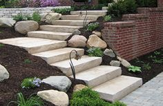CUT LIMESTONE STEPS with GRANITE BOULDERS