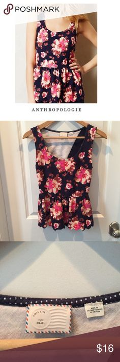 "Anthropologie Postmark Floral Peplum Top Anthropologie Postmark Floral Peplum Top. Scallop trim. Navy. 16"" just. Keyhole open back. 13"" elastic waist.  25"" long. Gently worn. Great condition. Feel free to make an offer or bundle & save! Anthropologie Tops Blouses"