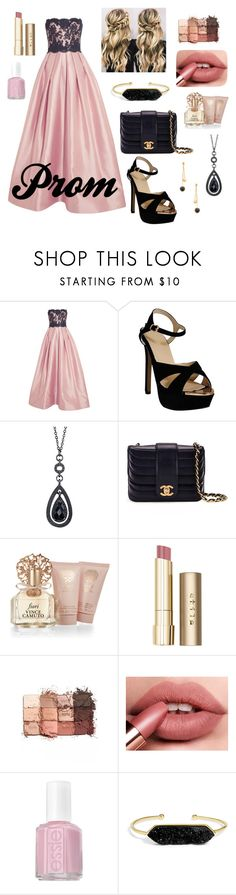 """Prom look- Follow me and I'll follow you☺"" by carolynpence ❤ liked on Polyvore featuring beauty, Reem Acra, 1928, Chanel, Vince Camuto, Stila, tarte, Essie, BaubleBar and Dean Davidson"