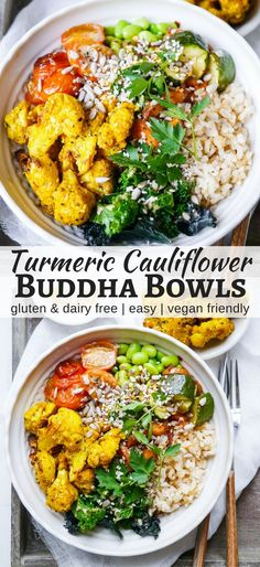 Roasted Turmeric Cauliflower Buddha Bowls make such a colourful, healthy meal! This vegan and gluten free recipe is easy to make and flexible. By Nourish Everyday