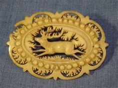 This is a running stag brooch, not the same as Jamie's I am sure, this is carved from bone..it is lovely.