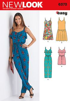 Be fashionably comfortable in these warm weather looks. New Look pattern 6373 includes long jumpsuit and drop waist dress with thick straps, short romper, and slip dress with thin straps. And, they're easy to sew!