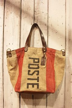 Handbag made out of original Italian mail bag by LaSellerieLimited