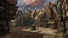 fantasy villages | picture about 2d fantasy architecture village well artist
