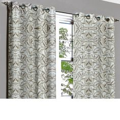 Off White Leaves Grommet Lined Curtain in Textured Jacquard Weave Fabric Decor and Housewares Window Treatment Drapes Panels