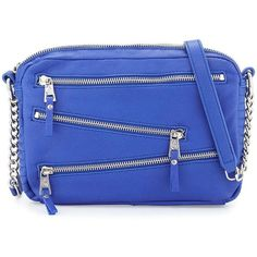 Ash Angel Zip-Front Leather Crossbody Bag ($63) ❤ liked on Polyvore featuring bags, handbags, shoulder bags, sapphire, leather cross body handbags, leather purses, genuine leather shoulder bag, leather crossbody and leather shoulder bag