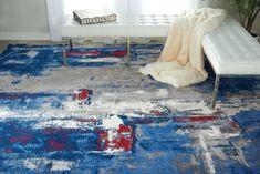 TWILIGHT TWI20 GREY/BLUE AREA RUG Contemporary Interior Design, Contemporary Rugs, Modern Rugs, Neutral Colors, Vivid Colors, Nourison Rugs, Carpets Online, Blue Carpet, Modern Carpet