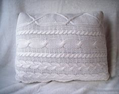 White sweater cable knit Decorative Pillow, Throw Pillow, Toss Pillow, Accent Pillow cushion pillow, home decor, interior design, recycled - Edit Listing - Etsy