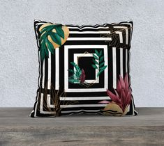 Pillow Cover, Green, Burgundy, Geometric, Leaves, Black and White, Gold Leaf, Accent Throw Pillow, Large Sofa Cushion, Upholstery Velveteen,