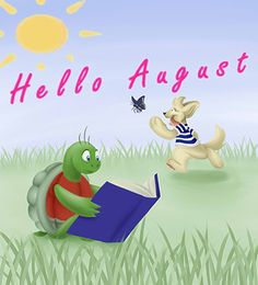 Ned (an introverted turtle) reads as Rosco (an extroverted puppy) chases butterflies. Hello August, Childrens Books, Turtle, Disney Characters, Fictional Characters, Puppies, Education, Disney Princess, Kids