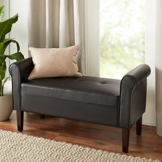 Chatham House Hampshire Faux-Leather Settee in Black