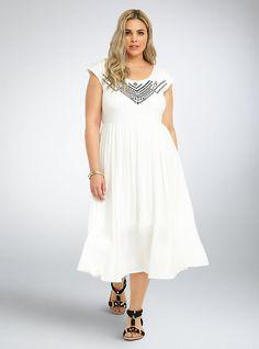 Plus Size Embroidered Knit Gauze Midi Dress, CLOUD DANCER