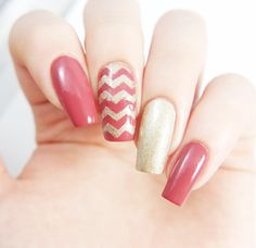 Holiday part ready manicure using our Chevron Nail Vinyls found at snailvinyls.com