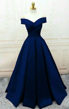 Trendy prom dresses - Off the shoulder navy long prom dresses evening gowns – Trendy prom dresses Senior Prom Dresses, Pretty Prom Dresses, Prom Outfits, A Line Prom Dresses, Ball Dresses, Long Dresses, Sexy Dresses, Summer Dresses, Wedding Dresses