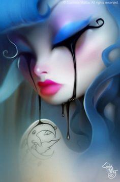 dark art gianluca mattia - I only like this cropped version Art And Illustration, Dibujos Pin Up, Image Triste, Pin Up Cartoons, Gothic Fantasy Art, Goth Art, Digital Art Girl, Art For Art Sake, Eye Art