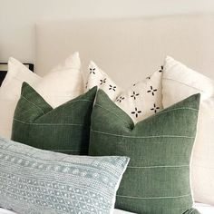 dusty blue forest green ivory Designer Pillow covers your bed and sofa Traditional pillows blended with neutral hues and minimalist style Shop all styles at Green Pillows, Pillows On Bed, Green Bedding, White Pillows, Green Pillow Covers, Neutral Bedding, Decor Pillows, White Bedding, Bed Linens