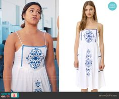 Jane's white dress with blue embroidery on Jane the Virgin. Outfit Details: https://wornontv.net/69874/ #JanetheVirgin