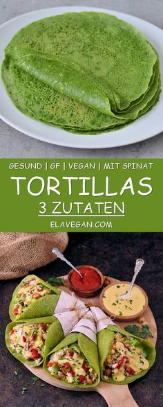 Homemade green spinach tortillas with 3 ingredients. The recipe is healthy gluten-free vegan wheat-free corn-free great for kids and easy to make. Perfect for wraps tacos burritos enchiladas quesadillas. Mexican Food Recipes, Whole Food Recipes, Diet Recipes, Vegetarian Recipes, Cooking Recipes, Cooking Games, Indian Recipes, Vegan Recipes For Kids, Easy Recipes