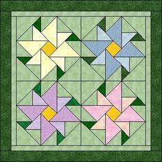 Half and quarter square triangle flower quilt block