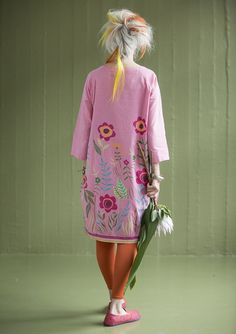 """Our unique """"Vallmo"""" dress is inspired by a wonderful watercolour awash with poppies. In a cotton/silk print and embellished with tinted glass beads, this dress is a party-wear sensation! A dreamy style with lots of volume."""