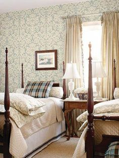 Damask Wallpaper Decor #Schumacher #colonial #chic #interior #decor #bedroom #matching #fabric