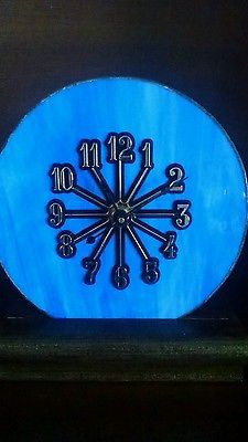 Beautiful Swirl Sweet Blue Stained Glass Clock -