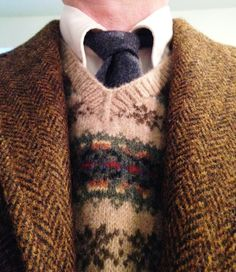 Vintage 3/2 Frederick & Nelson (Seattle) Harris Tweed with JCrew lambswool sweater vest, Brooks Brothers ecru OCBD, Rooster wool tie (Scotland).