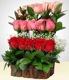 To stand out in any occasion, a subtle but innovative arrangement which includes:- 15 roses in three different colors, beautifully arranged in a rustic base and green foliage. Rosen Arrangements, Modern Floral Arrangements, Creative Flower Arrangements, Altar Flowers, Church Flower Arrangements, Church Flowers, Beautiful Flower Arrangements, Funeral Flowers, Paper Flowers