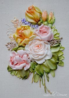 Wonderful Ribbon Embroidery Flowers by Hand Ideas. Enchanting Ribbon Embroidery Flowers by Hand Ideas. Embroidery Designs, Ribbon Embroidery Tutorial, Silk Ribbon Embroidery, Embroidery Patterns, Embroidery Thread, Wedding Embroidery, Embroidery Bracelets, Embroidery Supplies, Flower Embroidery