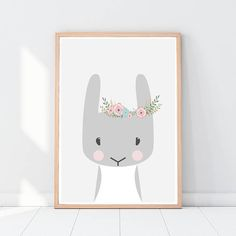 Bunny with flowers Rabbit Nursery animals Woodland animals