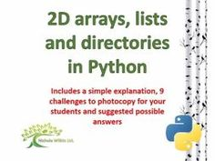 Two-Dimensional Arrays, Lists and Directories in Python by nwilkin - Teaching Resources - TES