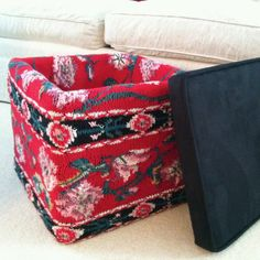 Cover a storage cube with a thrift shop sweater!