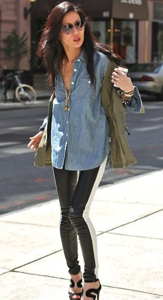 """crazy hair friday! cargo jkt + fiance's denim shirt + leather patched jeans"" marissa webb"