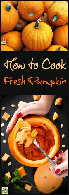 Want to know how to cook fresh pumpkin for Halloween and Thanksgiving recipes? I… Want to know how to cook fresh pumpkin for Halloween and Thanksgiving recipes? It's easy to do! Plus two ways on how to cook pumpkin seeds. Fresh Pumpkin Recipes, Pureed Food Recipes, Cooking Recipes, Pumpkin Soup, Baked Pumpkin, Pumpkin Pumpkin, Roast Pumpkin, Vegan Pumpkin, Healthy Pumpkin