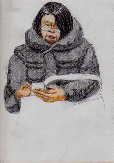 襟の大きなコートのお姉さん(通勤電車でスケッチ) This is a woman of sketch wearing a black down coat. I drew in a commuter train.
