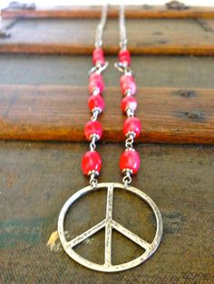 peace sign necklace #jewelry #peace #handmade