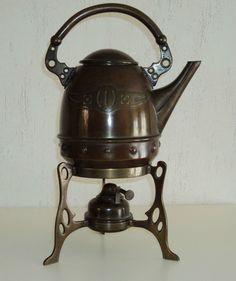 GBN Art Nouveau Jugendstil Copper & Brass Tea Kettle on Stand Gebrüder Bing 1900 ebay- steampunk, no?