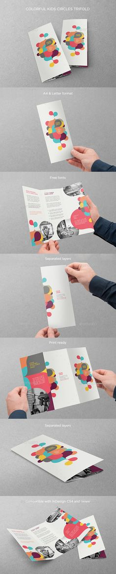 Colorful Kids Circles Trifold Brochure Template #design Download: http://graphicriver.net/item/colorful-kids-circles-trifold/12752238?ref=ksioks