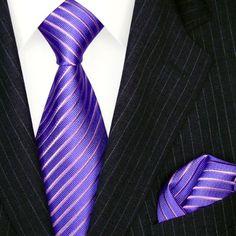 LORENZO CANA Luxury Italian Pure Silk Tie Hanky Set Purple Blueviolet Stripes Neck Tie 8451201