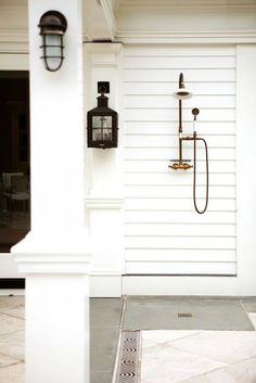 Shower for after surfing / beach sand wash off! Warm water a must! Attach to side of detach garage or far side of the home. In backyard or side w/ privacy
