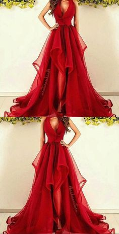 New Fashions Long Prom Dress Red Evening Dress Organza Prom Dresses Sexy Formal Evening