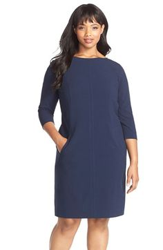 Tahari by Arthur S. Levine Seam Detail A-Line Shift Dress (Plus Size) available at #Nordstrom