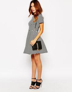 Image 4 ofWarehouse Striped Skater Dress