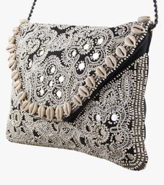 Black & Silver Cotton Embroidered Sling Bag #embroidery #clutches #slingbags #cotton