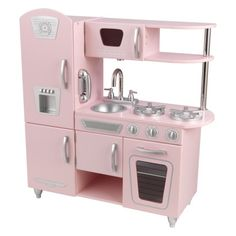 Repin this pin if you have one, or you want one for your kid OR you think they are just plain cute!!!! KidKraft Vintage Kitchen - Pink Vintage Roses, Popcorn Maker, Cheap Kitchen, Vintage Kitchen, Toys, Gaming