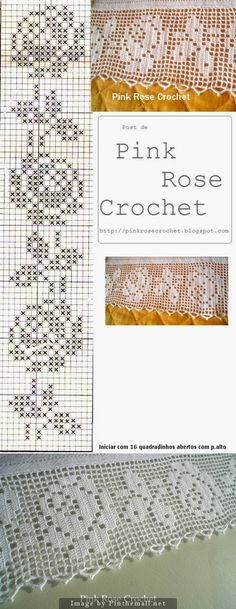 Filet crochet lace edging Perfect Rose ~~ Rosa Perfeita ~~ Baby Irish scallops on one othe filet strip straight edges ~~ http://pinkrosecrochet.blogspot.com.br/2009/03/barrado-rosas-croche-file-grafico-rose.html