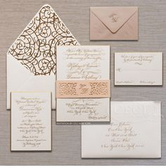 Luxury Wedding Invitations by Ceci New York - Our Muse - Stylish Downtown NYC Wedding - Be inspired by Kate & Dominic's chic downtown New York City wedding - ceci new york, wedding invitation, custom invitations, luxury invitations, couture invitations, wrought iron, inspiration, laser-cut, bellyband, envelope liner, angel orensanz foundation, blush, gold, engraving, calligraphy, monogram
